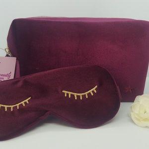 Cosmetic makeup bag + sleep eye mask - Burgundy